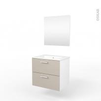 Ensemble salle de bains - Meuble MILO Sable - Plan vasque céramique - Miroir - L61,5 x P46 x H56,5 cm