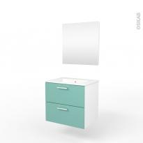Ensemble salle de bains - Meuble MILO Vert d'eau - Plan vasque céramique - Miroir - L61,5 x P46 x H56,5 cm