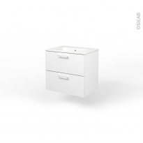 Ensemble salle de bains - Meuble MILO Blanc - Plan vasque céramique - L61,5 x P46 x H56,5 cm