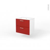 Ensemble salle de bains - Meuble MILO Rouge - Plan vasque céramique - L61,5 x P46 x H56,5 cm