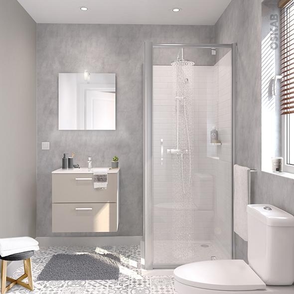 Ensemble salle de bains - Meuble MILO Sable - Plan vasque céramique - Miroir - éclairage - Robinet Chromé - L61,5 x P46 x H56,5 cm