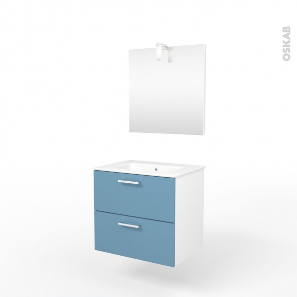 Ensemble salle de bains - Meuble MILO Bleu - Plan vasque céramique - Miroir et éclairage - L61,5 x P46 x H56,5 cm