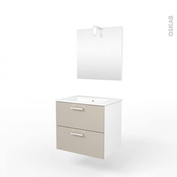 Ensemble salle de bains - Meuble MILO Sable - Plan vasque céramique - Miroir  et éclairage - L61,5 x P46 x H56,5 cm