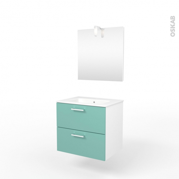 Ensemble salle de bains - Meuble MILO Vert d'eau - Plan vasque céramique - Miroir et éclairage - L61,5 x P46 x H56,5 cm