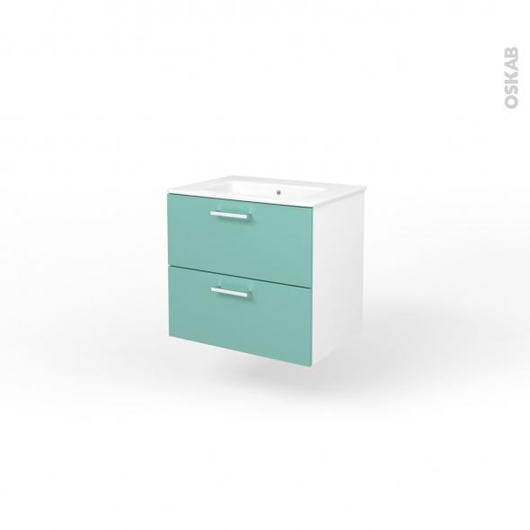 ensemble salle de bains meuble milo vert d 39 eau plan vasque c ramique l61 5 x p46 x h56 5 cm oskab. Black Bedroom Furniture Sets. Home Design Ideas