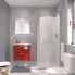 #Ensemble salle de bains - Meuble MILO Rouge - Plan vasque céramique - Miroir - L61,5 x P46 x H56,5 cm