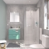 #Ensemble salle de bains - Meuble MILO Vert d'eau - Plan vasque céramique - Miroir - L61,5 x P46 x H56,5 cm