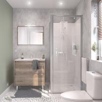 Ensemble salle de bains - Meuble TINA Bois - Plan vasque céramique - Miroir - éclairage - Robinet Chromé L81 x P46,5 x H82 cm