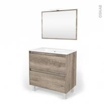 Ensemble salle de bains - Meuble TINA Bois - Plan vasque céramique - Miroir et éclairage - L81 x P46,5 x H82 cm