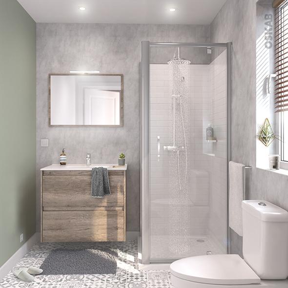 ensemble salle de bains meuble tina bois plan vasque c ramique miroir clairage robinet chrom. Black Bedroom Furniture Sets. Home Design Ideas