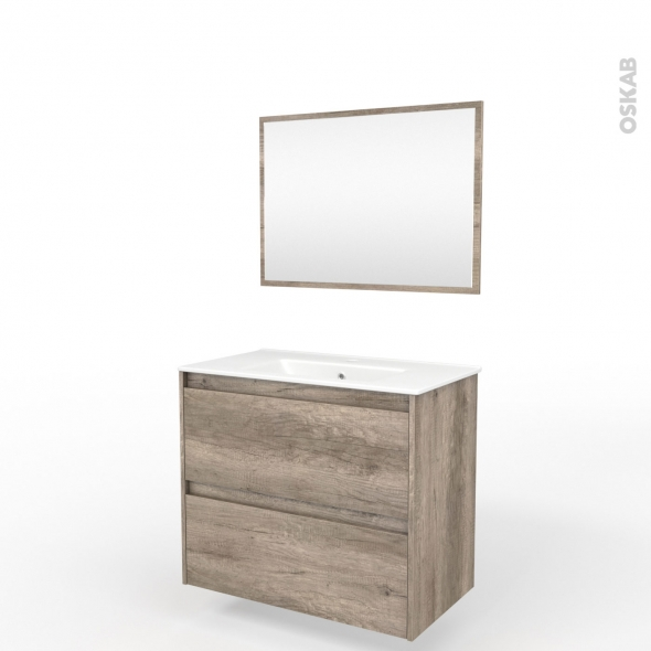 Ensemble salle de bains meuble tina bois plan vasque c ramique miroir l81 x p46 5 x h82 cm oskab - Ensemble salle de bain bois ...