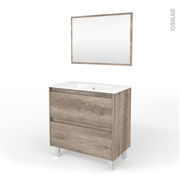 Ensemble salle de bains - Meuble TINA Bois - Plan vasque céramique - Miroir - L81 x P46,5 x H82 cm