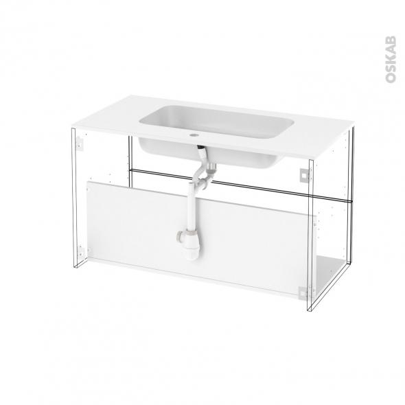 ensemble salle de bains meuble static blanc plan vasque r sine miroir et clairage l100 5 x h58. Black Bedroom Furniture Sets. Home Design Ideas