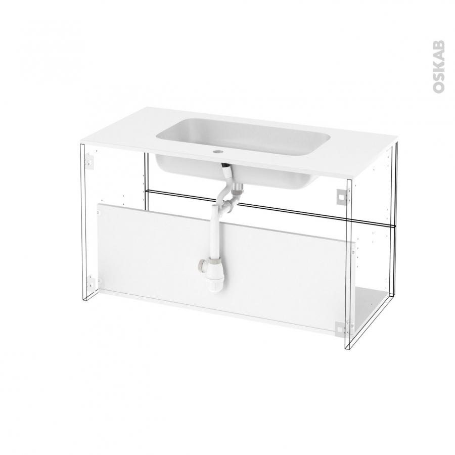 Ensemble salle de bains meuble ipoma bois plan vasque for Eclairage meuble salle de bain