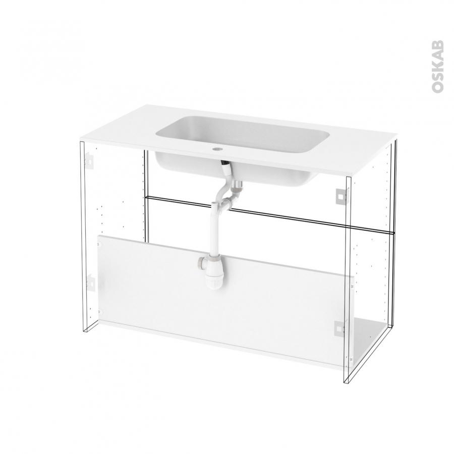Ensemble salle de bains meuble fakto b ton plan vasque for Eclairage meuble salle de bain