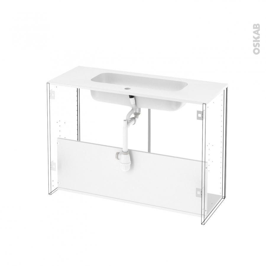 Meuble de salle de bains plan vasque rezo stecia gris 2 for Meuble salle de bain porte basculante