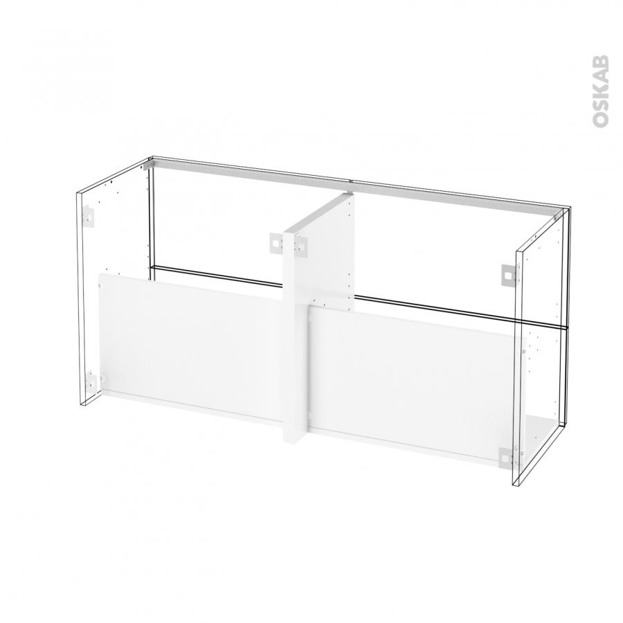 Meuble de salle de bains sous vasque double ipoma blanc for Meuble plein de tiroirs