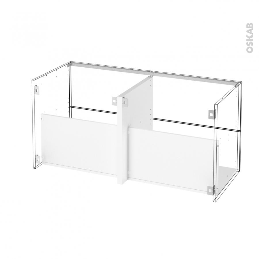 Ensemble salle de bains meuble pima blanc plan de toilette for Meuble salle de bain blanc double vasque