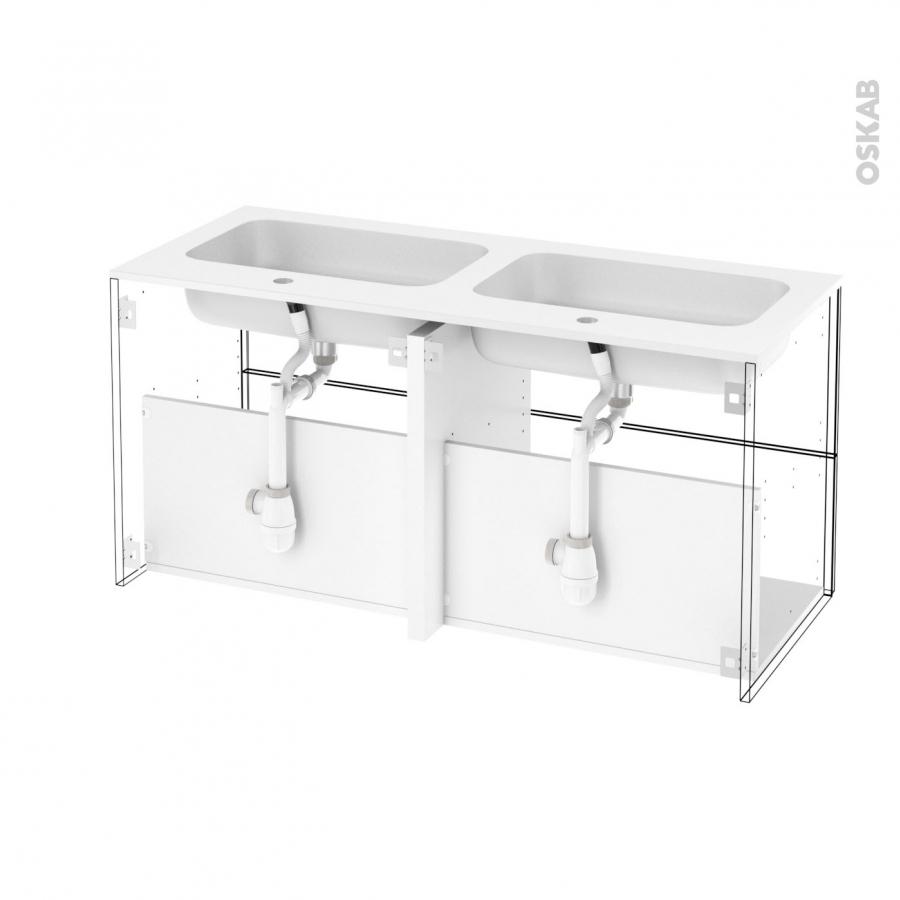 ensemble salle de bains meuble fakto b ton plan double vasque r sine miroir lumineux l120 5 x. Black Bedroom Furniture Sets. Home Design Ideas