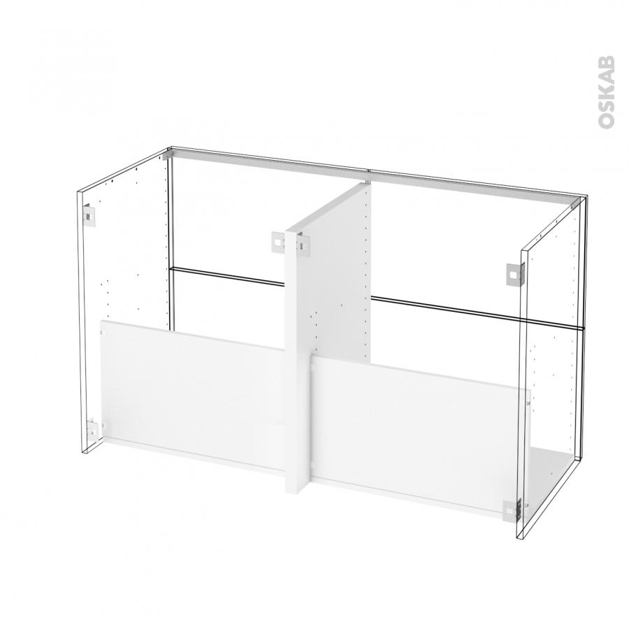 Ensemble salle de bains meuble ipoma blanc brillant plan for Meuble salle de bain blanc double vasque
