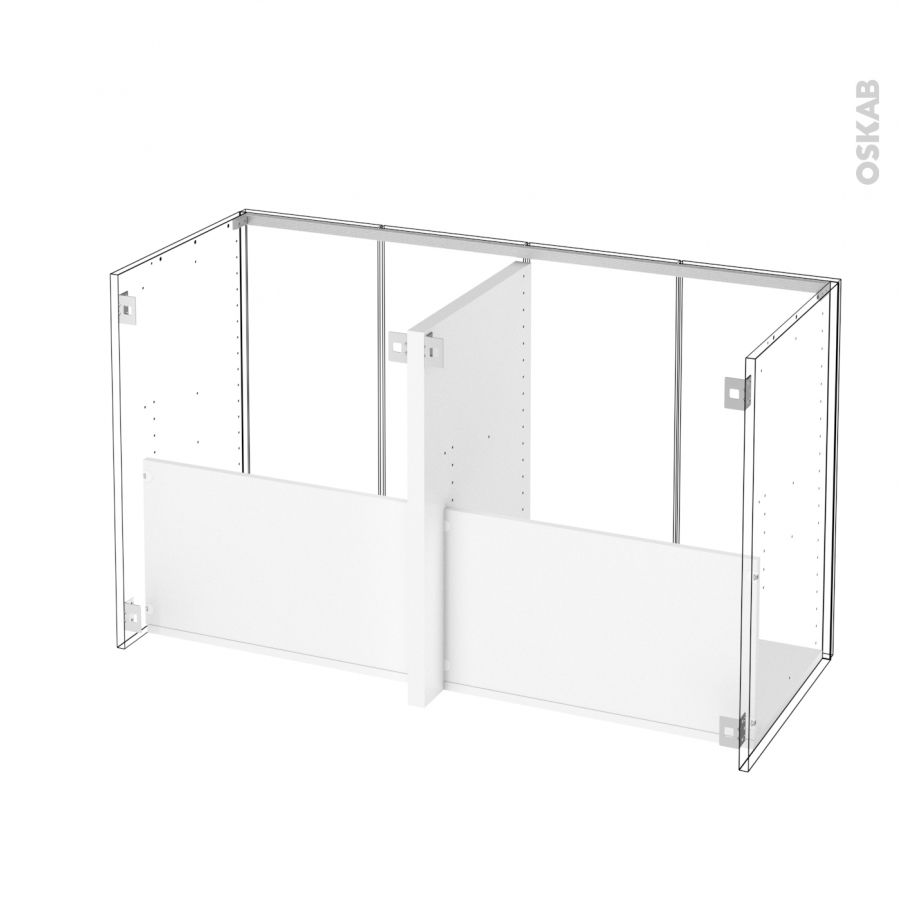 Meuble de salle de bains sous vasque double ginko gris 4 for Meuble salle de bain double porte