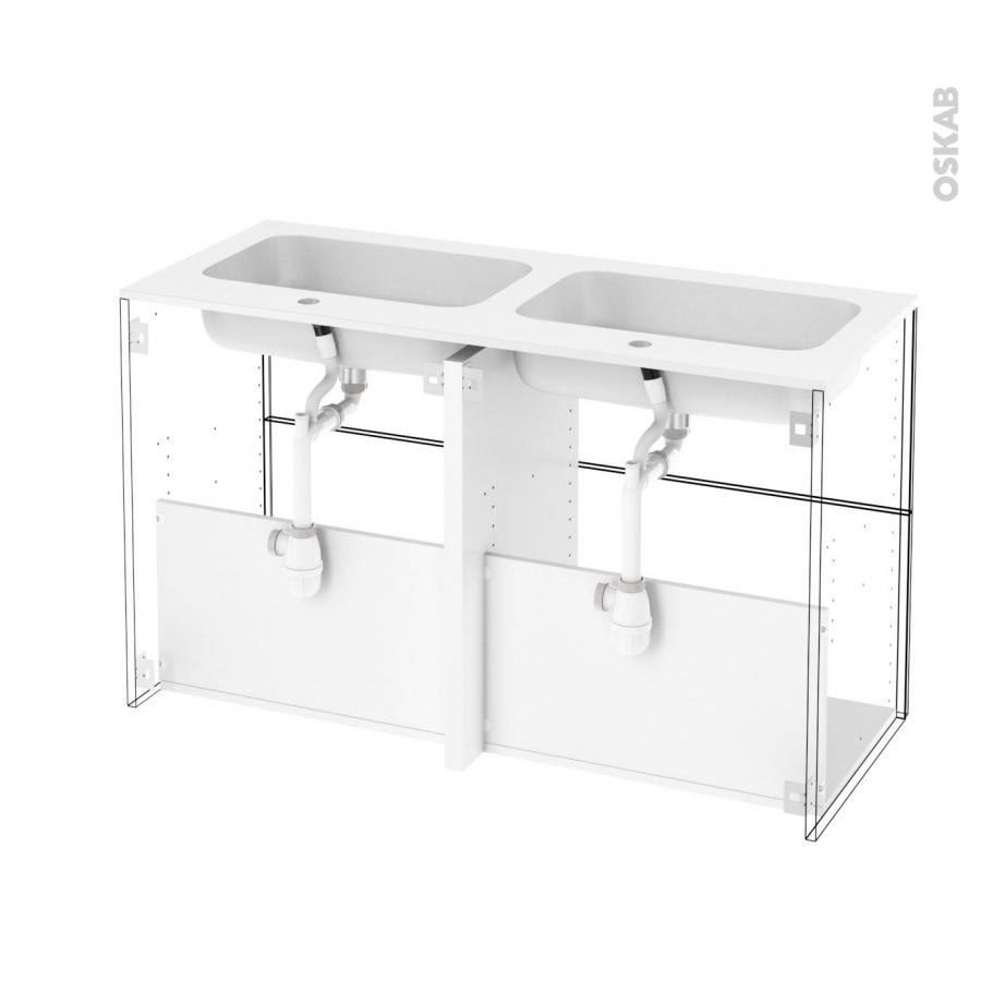 Meuble de salle de bains plan double vasque rezo ipoma for Meuble salle de bain 120 cm double vasque 3 tiroirs