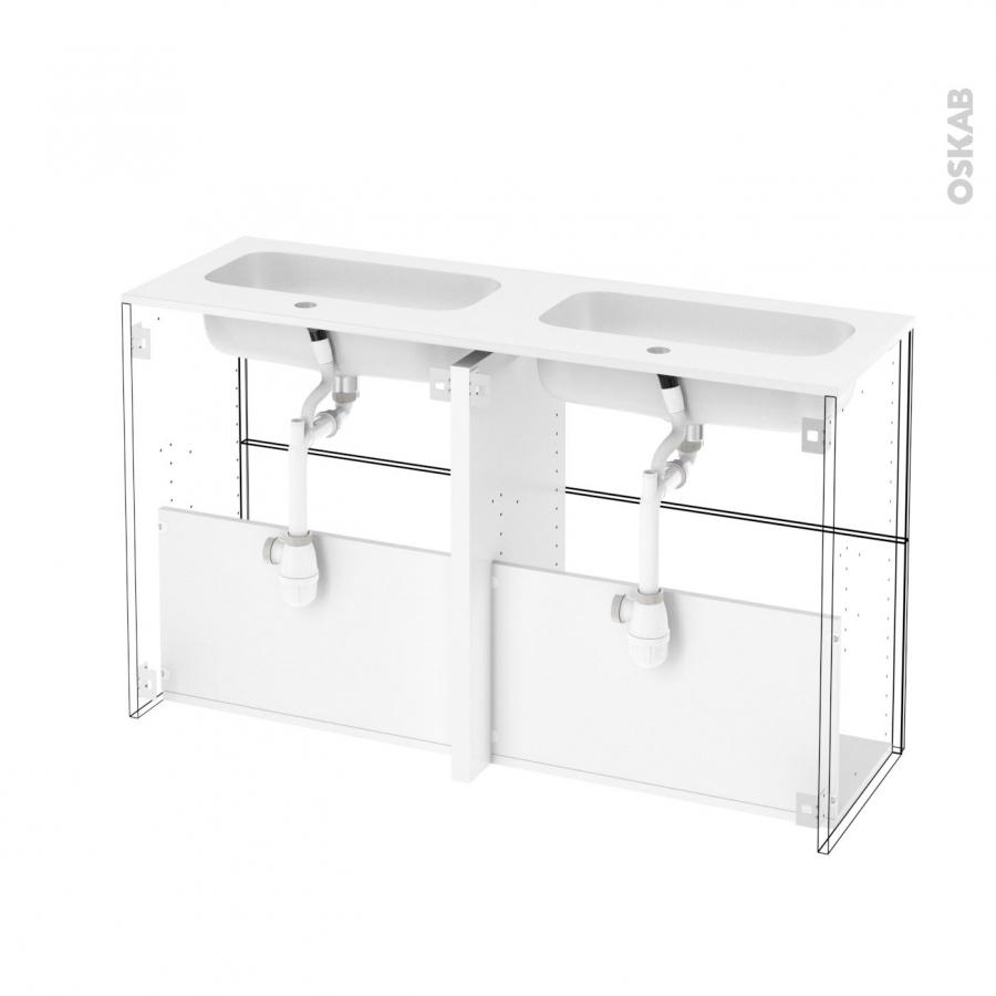 Meuble de salle de bains plan double vasque rezo ipoma for Double vasque salle de bain blanc