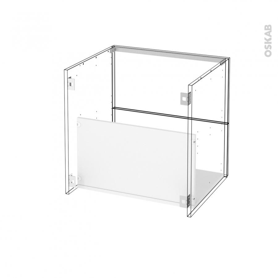meuble de salle de bains sous vasque ipoma blanc brillant 2 tiroirs c t s blancs l60 x h57 x p50. Black Bedroom Furniture Sets. Home Design Ideas