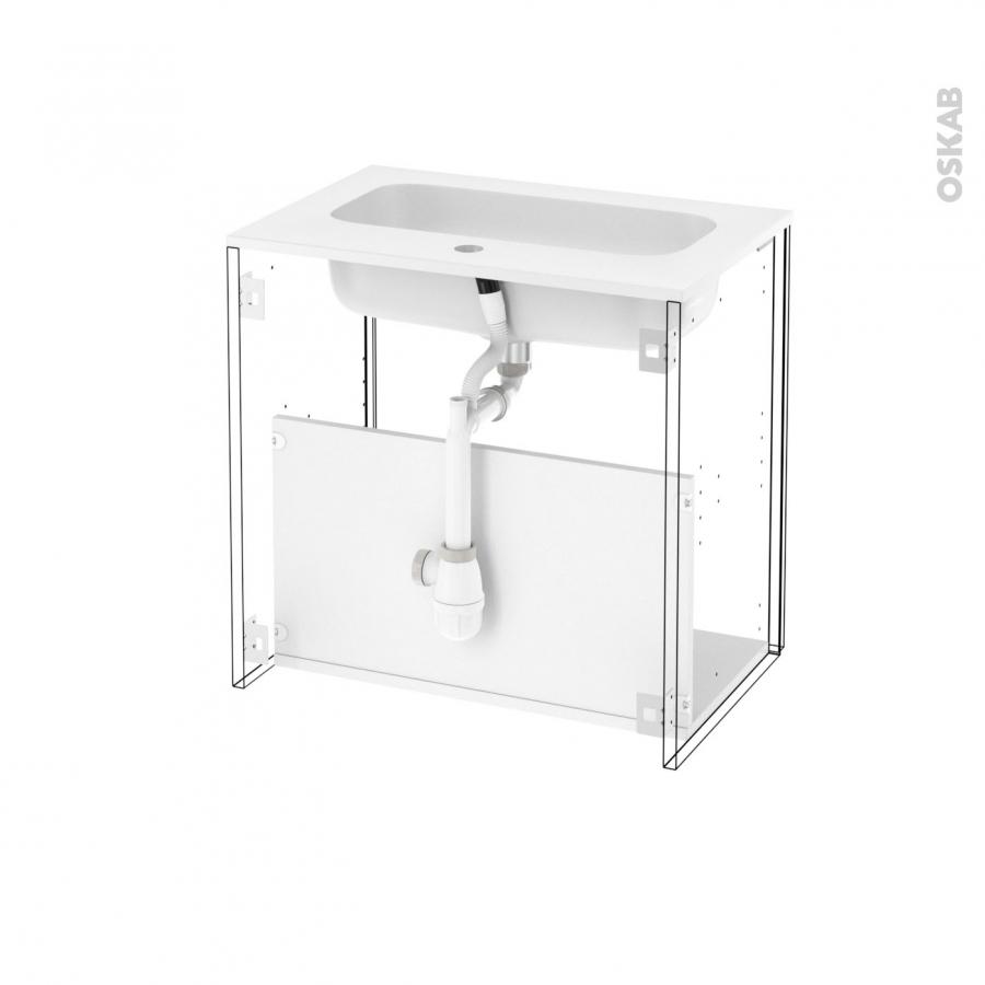 Meuble de salle de bains plan vasque rezo ginko blanc 1 for Meuble salle de bain sans porte