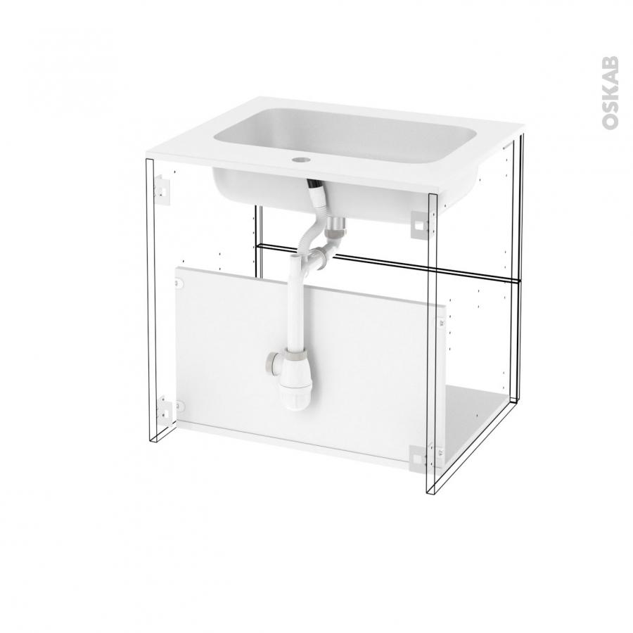 Meuble de salle de bains plan vasque rezo ginko blanc 2 for Tiroir meuble salle de bain