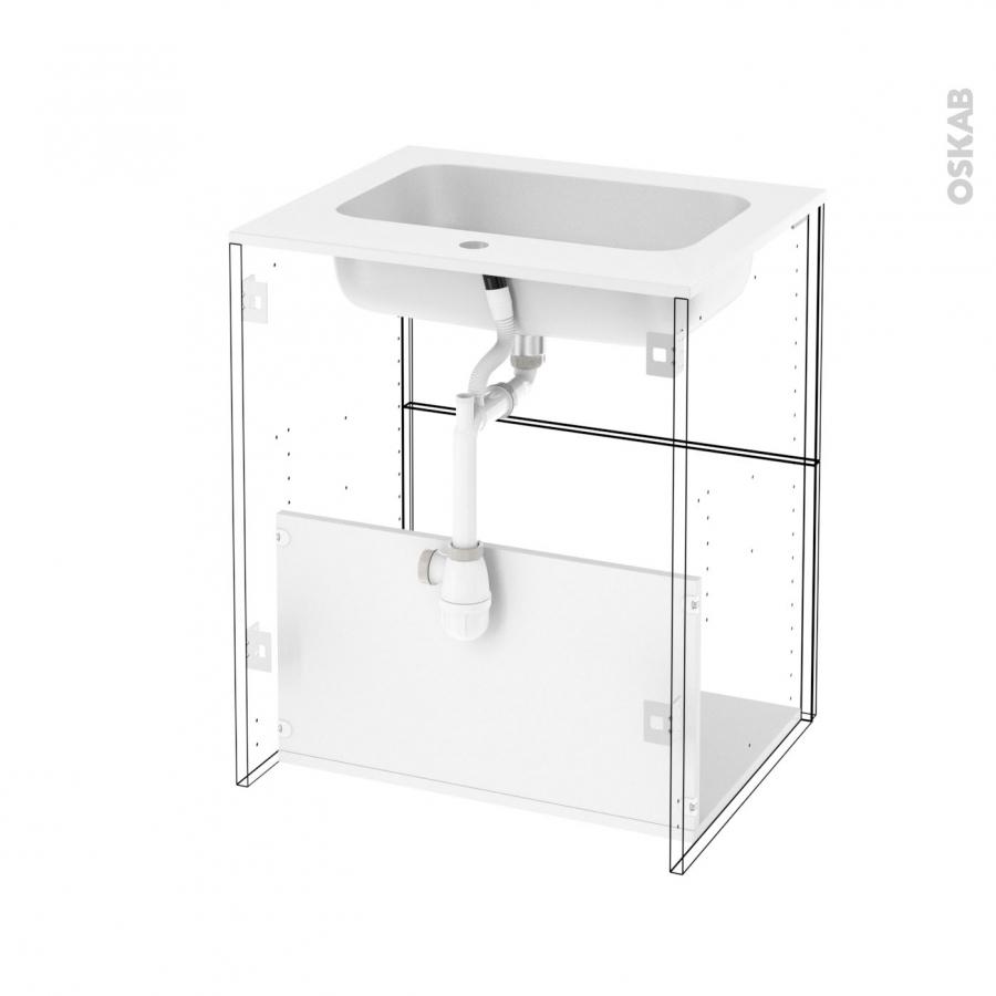 Ensemble salle de bains meuble ipoma bois plan vasque for Meuble 2 tiroirs 60 cm woodstock bois clair