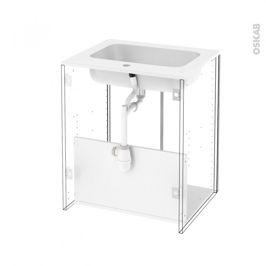 Meuble de salle de bains plan vasque rezo ipoma blanc for Meuble salle de bain sans porte
