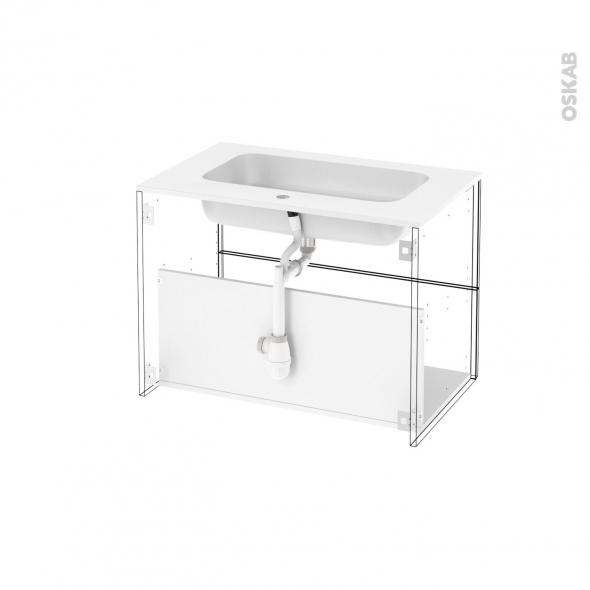 Ensemble salle de bains meuble static blanc plan vasque for Horizon meuble de salle de bain 59 cm blanc