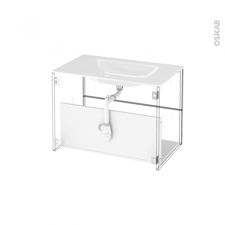 Meuble de salle de bains plan vasque egee iris blanc 2 for Horizon meuble de salle de bain 59 cm blanc