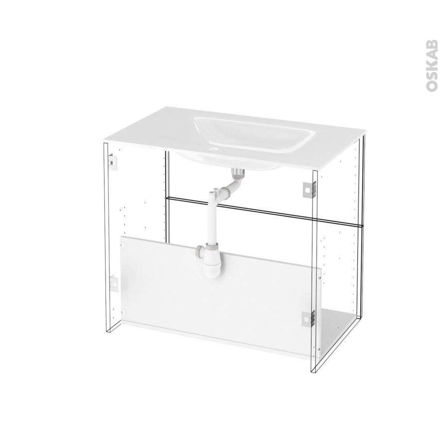 Meuble de salle de bains plan vasque vala ginko noir 2 for Meuble de salle de bain 80 cm plan vasque verre