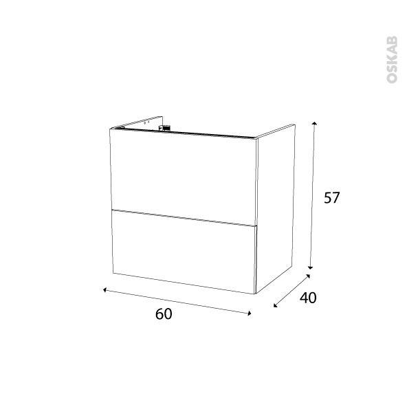 Meuble de salle de bains sous vasque ginko noir 2 tiroirs for Meuble salle de bain 60 x 45