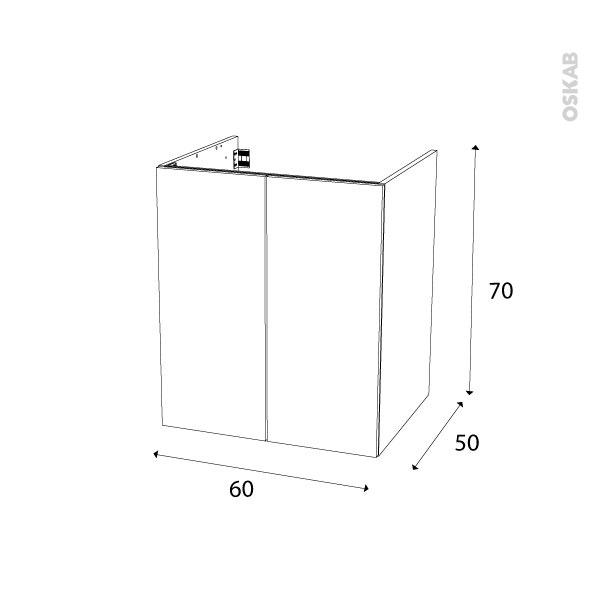 meuble de salle de bains sous vasque ipoma ch ne naturel 2 portes c t s blancs l60 x h70 x p50. Black Bedroom Furniture Sets. Home Design Ideas