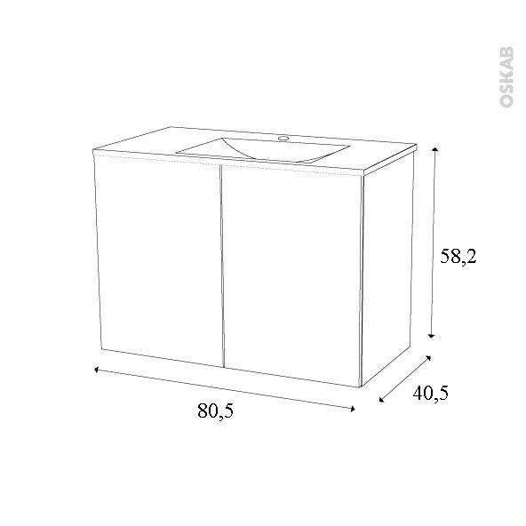 Meuble de salle de bains plan vasque vala ipoma ch ne for Meuble de salle de bain 80 cm plan vasque verre