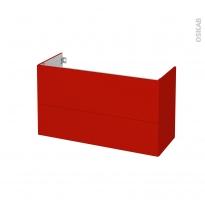 GINKO Rouge - Meuble sous vasque N°652 - Côté décor - 2 tiroirs prof.40 - L100xH57xP40