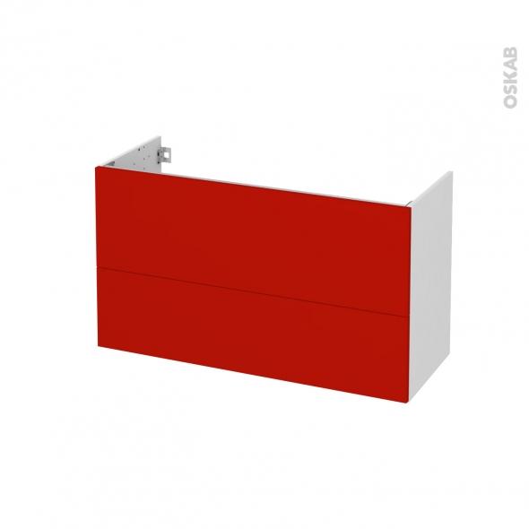 GINKO Rouge - Meuble sous vasque N°651 - Côté blanc - 2 tiroirs prof.40 - L100xH57xP40