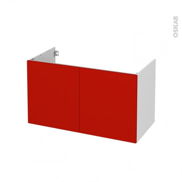 GINKO Rouge - Meuble sous vasque N°661 - Côté blanc - 2 portes - L100xH57xP50