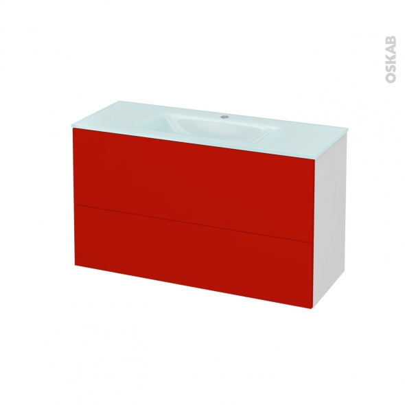 GINKO Rouge - Meuble salle de bains N°651 - Vasque EGEE - 2 tiroirs Prof.40 - L100,5xH58,2xP40,5