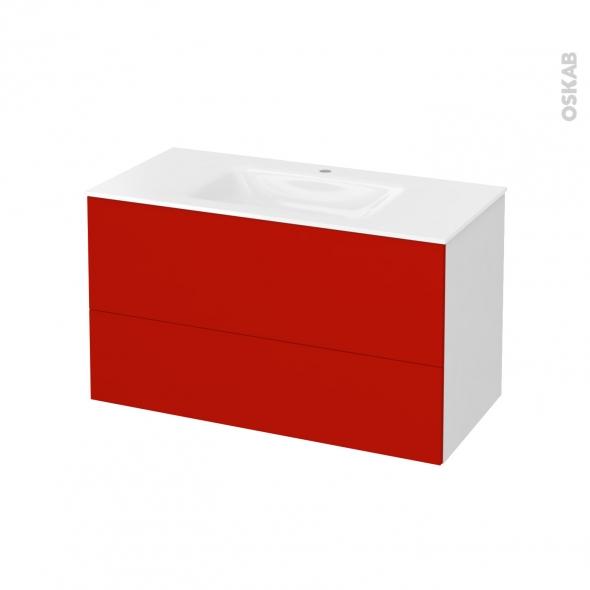 GINKO Rouge - Meuble salle de bains N°651 - Vasque VALA - 2 tiroirs  - L100,5xH58,2xP50,5
