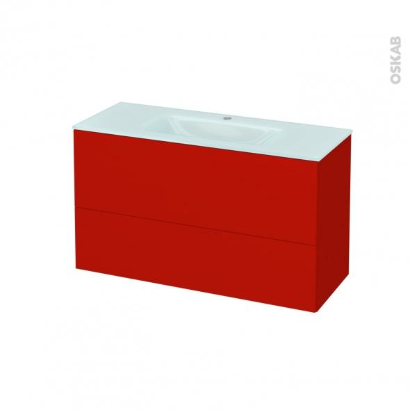 GINKO Rouge - Meuble salle de bains N°652 - Vasque EGEE - 2 tiroirs Prof.40 - L100,5xH58,2xP40,5