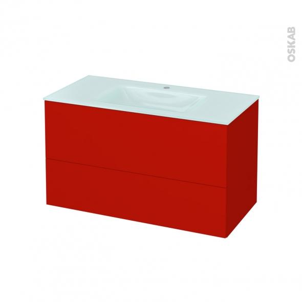 GINKO Rouge - Meuble salle de bains N°652 - Vasque EGEE - 2 tiroirs  - L100,5xH58,2xP50,5