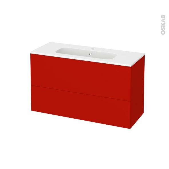 GINKO Rouge - Meuble salle de bains N°652 - Vasque REZO - 2 tiroirs Prof.40 - L100,5xH58,5xP40,5