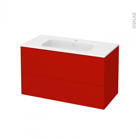 GINKO Rouge - Meuble salle de bains N°652 - Vasque REZO - 2 tiroirs  - L100,5xH58,5xP50,5