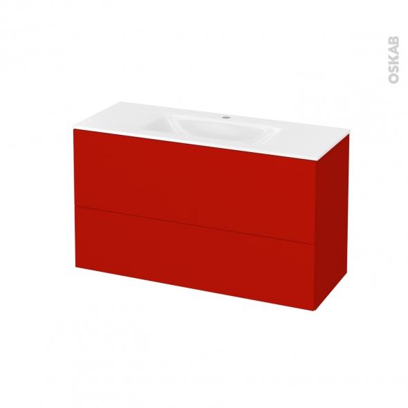 GINKO Rouge - Meuble salle de bains N°652 - Vasque VALA - 2 tiroirs Prof.40 - L100,5xH58,2xP40,5