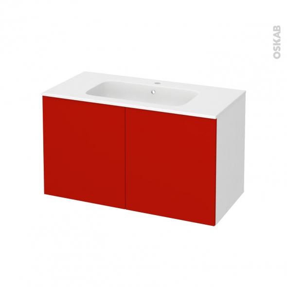 GINKO Rouge - Meuble salle de bains N°661 - Vasque REZO - 2 portes  - L100,5xH58,5xP50,5