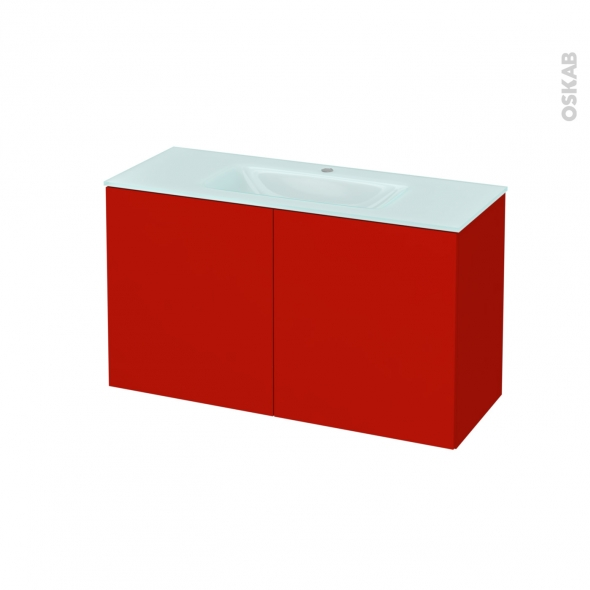 GINKO Rouge - Meuble salle de bains N°662 - Vasque EGEE - 2 portes Prof.40 - L100,5xH58,2xP40,5